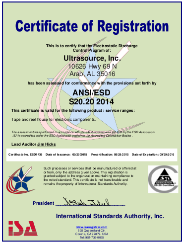 Ultrasource ANSI/ESD certified